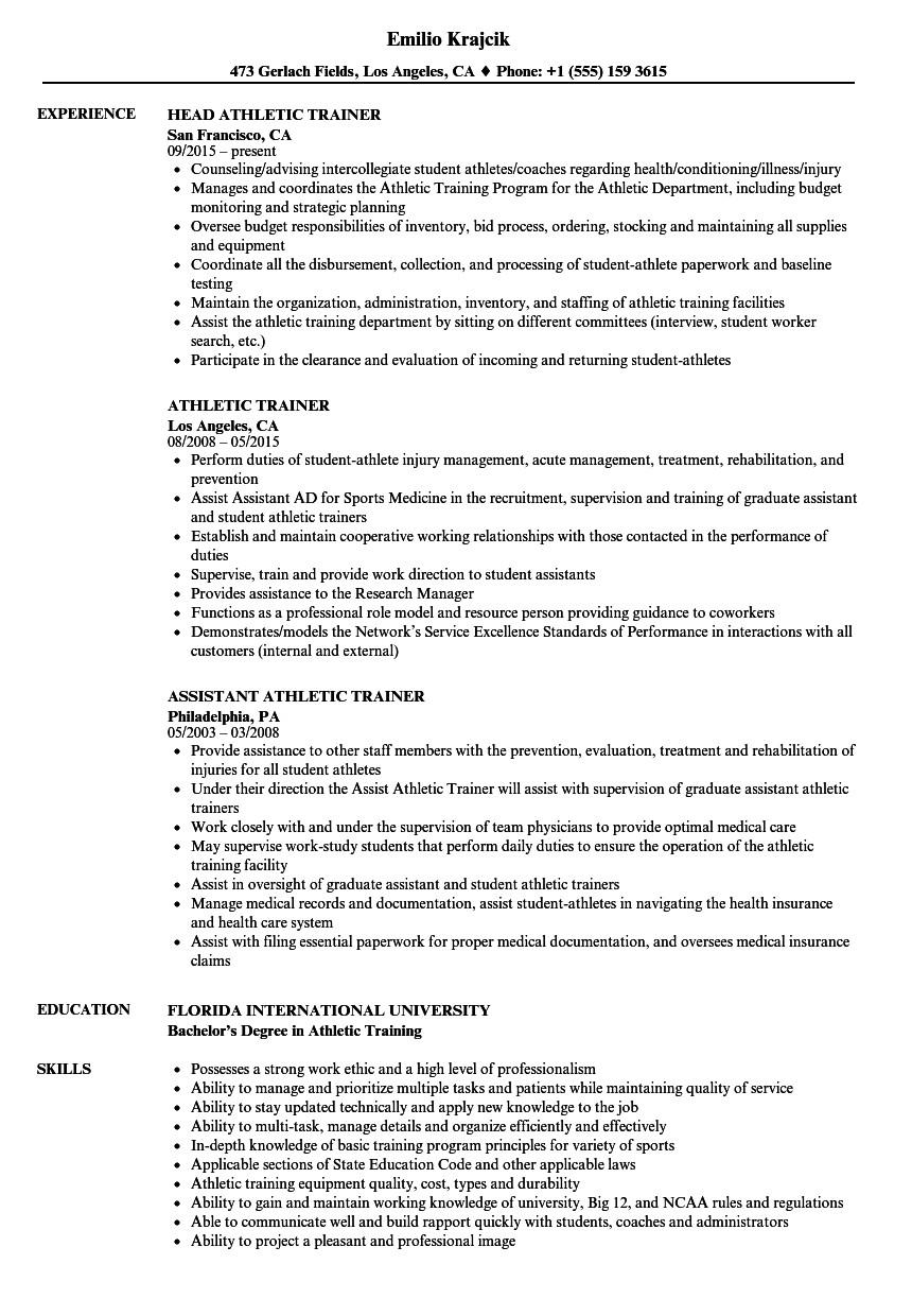 Athletic Trainer Resume Template