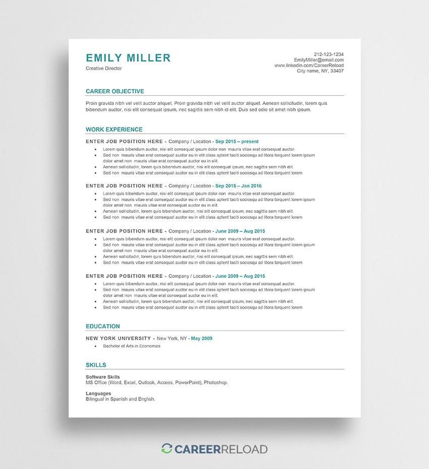 Ats Approved Resume Templates