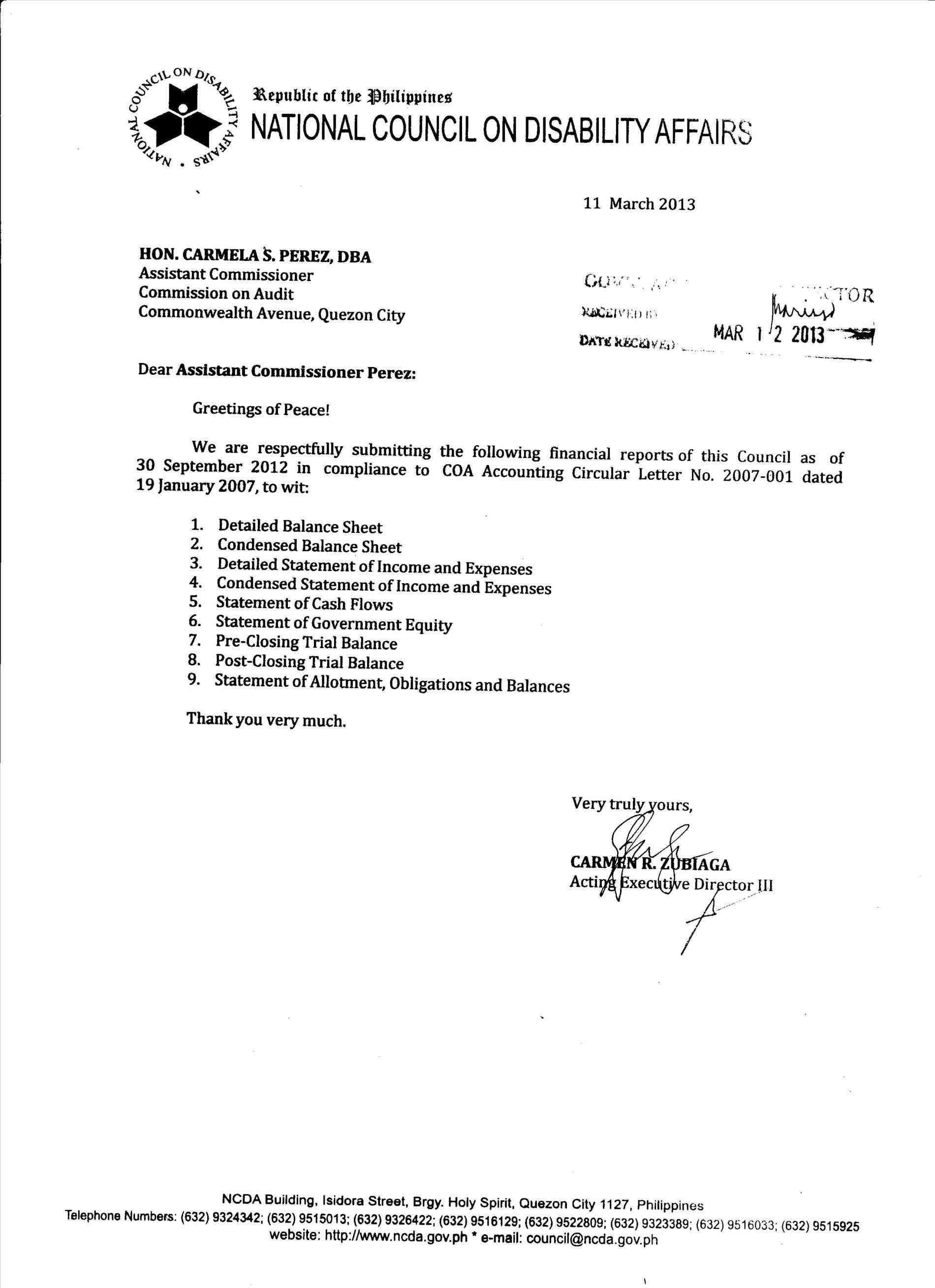 Audit Confirmation Format