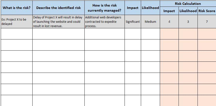 Audit Risk Assessment Matrix Template