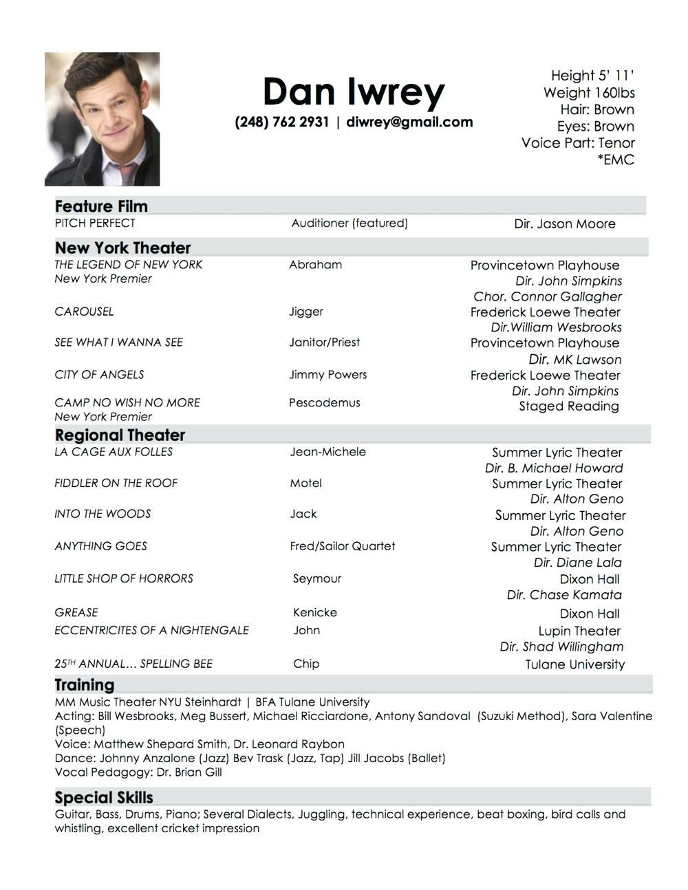 Audition Resume Template