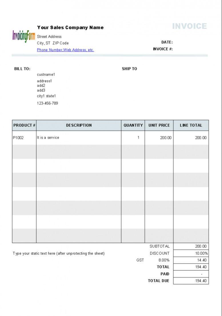 Australian Tax Invoice Template Word