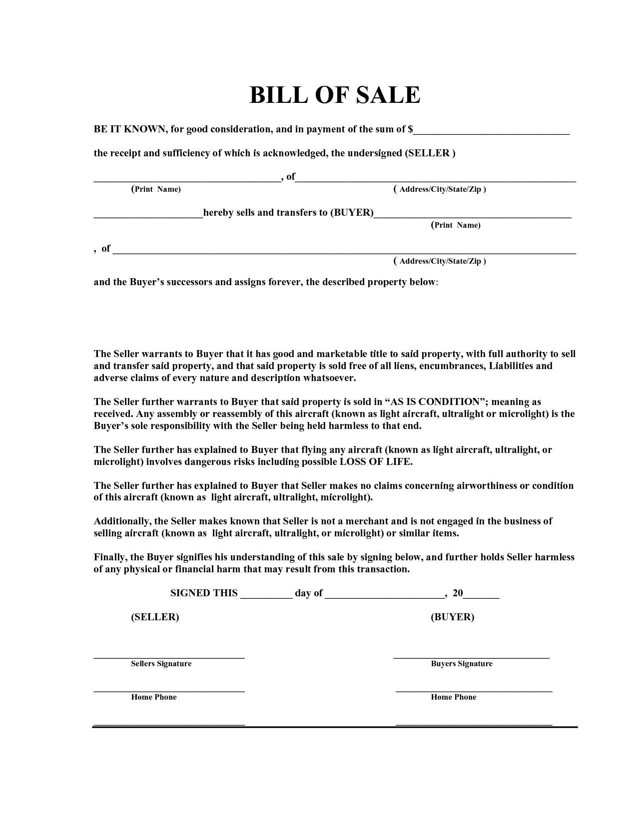 Auto Bill Of Sale Template Florida
