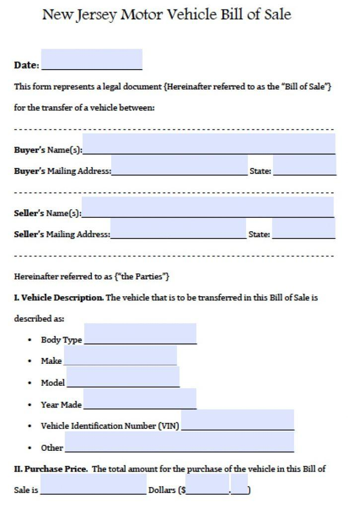 Auto Bill Of Sale Template Nh