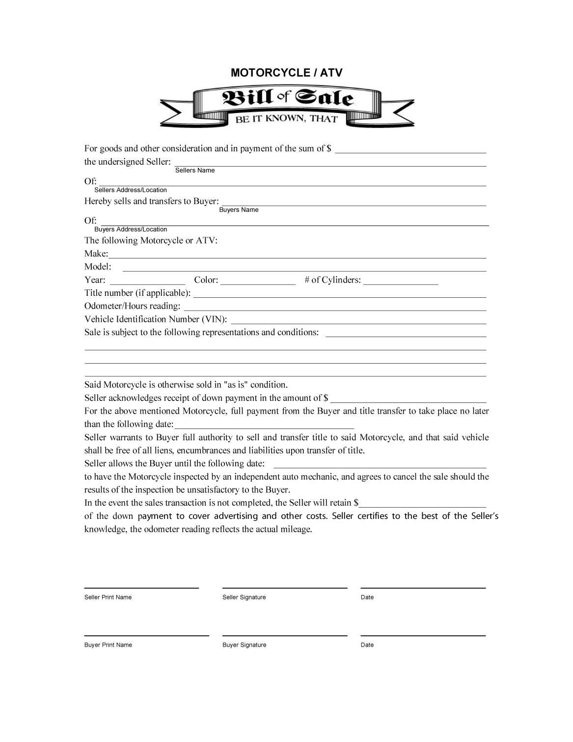 Auto Bill Of Sale Template Private Party