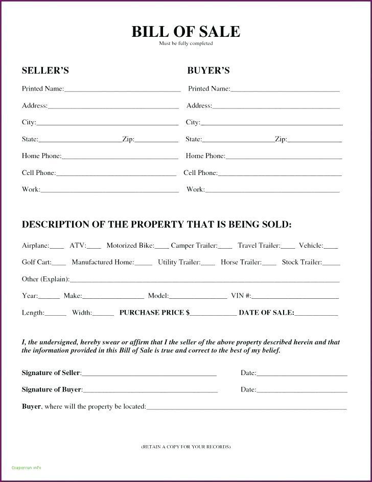 Auto Bill Of Sale Template Virginia