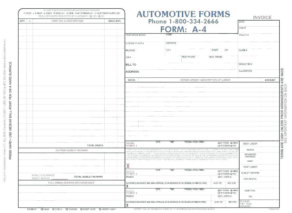 Auto Body Estimate Template Excel