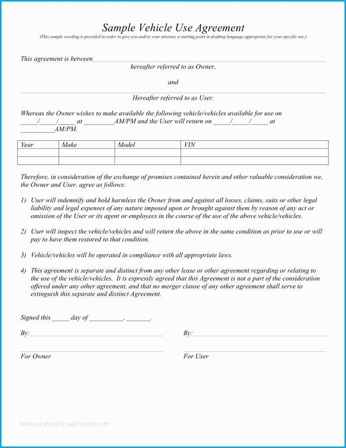 Auto Lease To Own Agreement Template