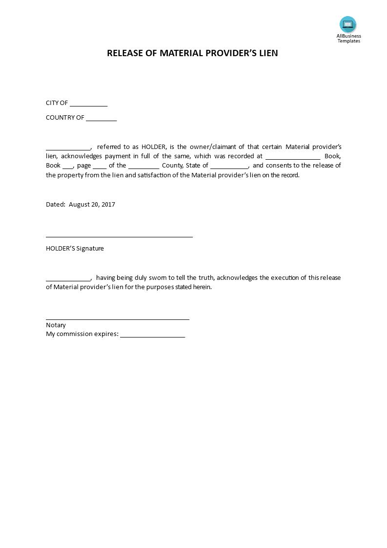 Auto Lien Release Letter Template