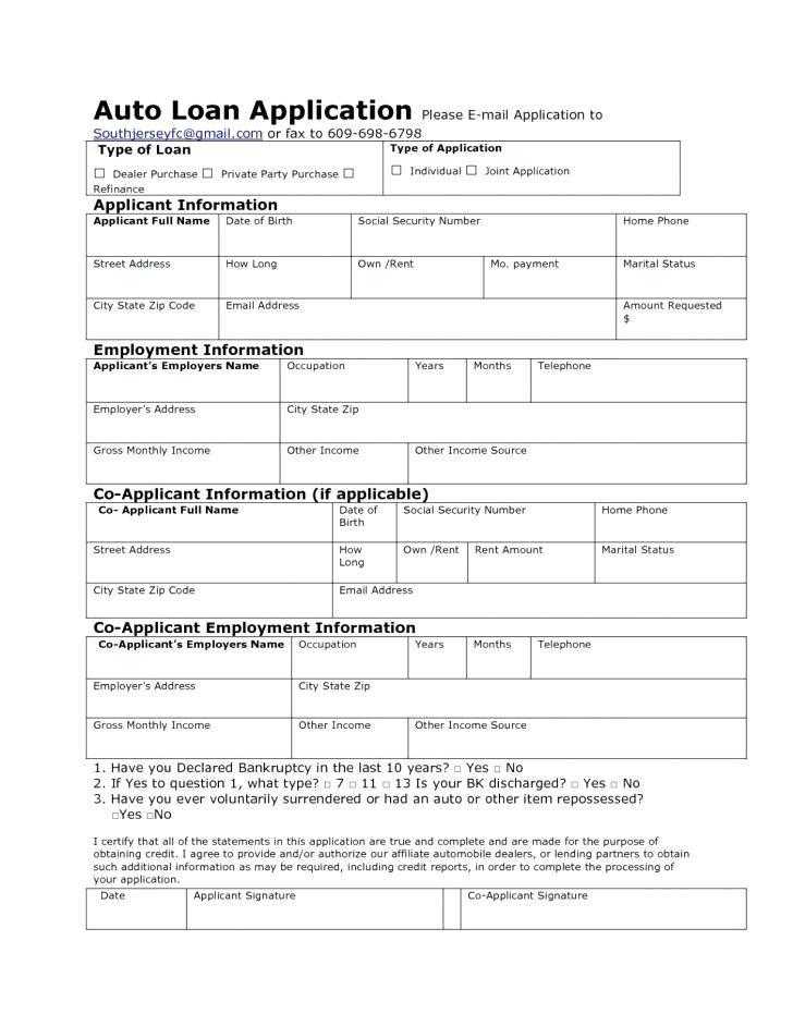 Auto Loan Promissory Note Form
