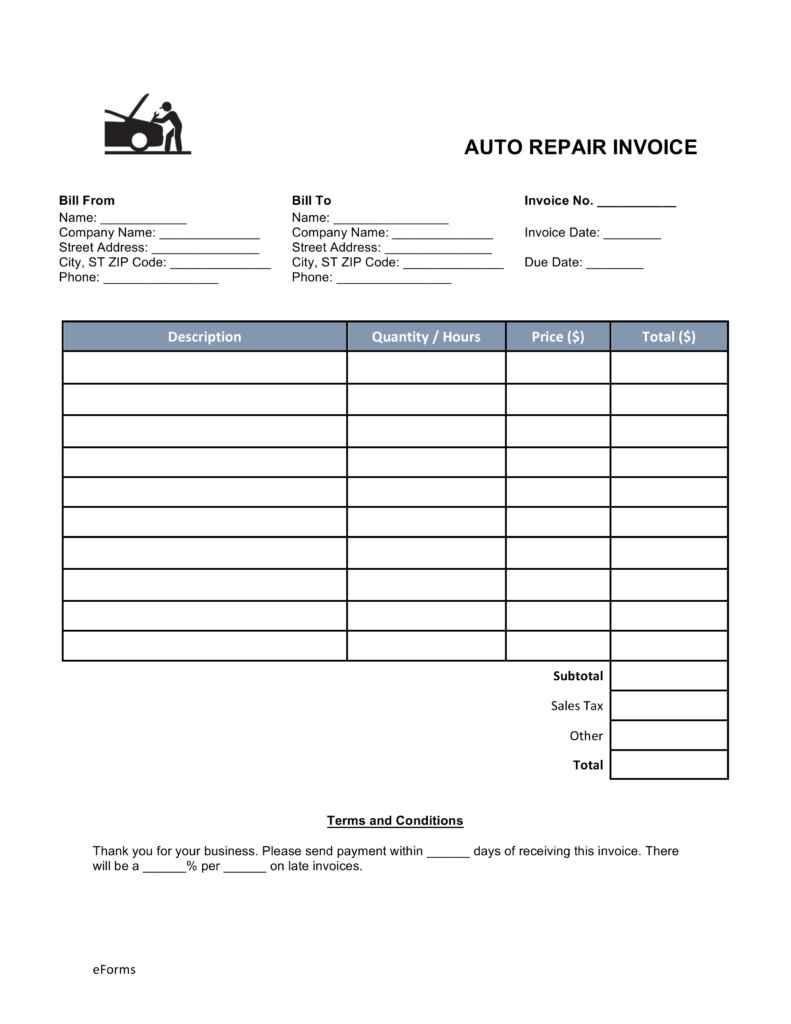 Auto Mechanic Invoice Template Download
