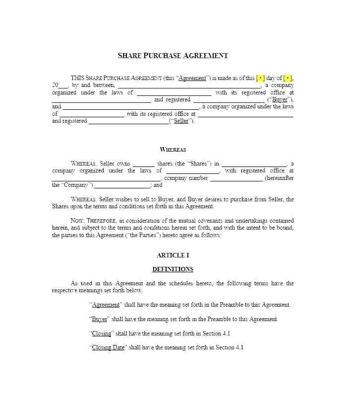 Auto Purchase And Sales Agreement Template