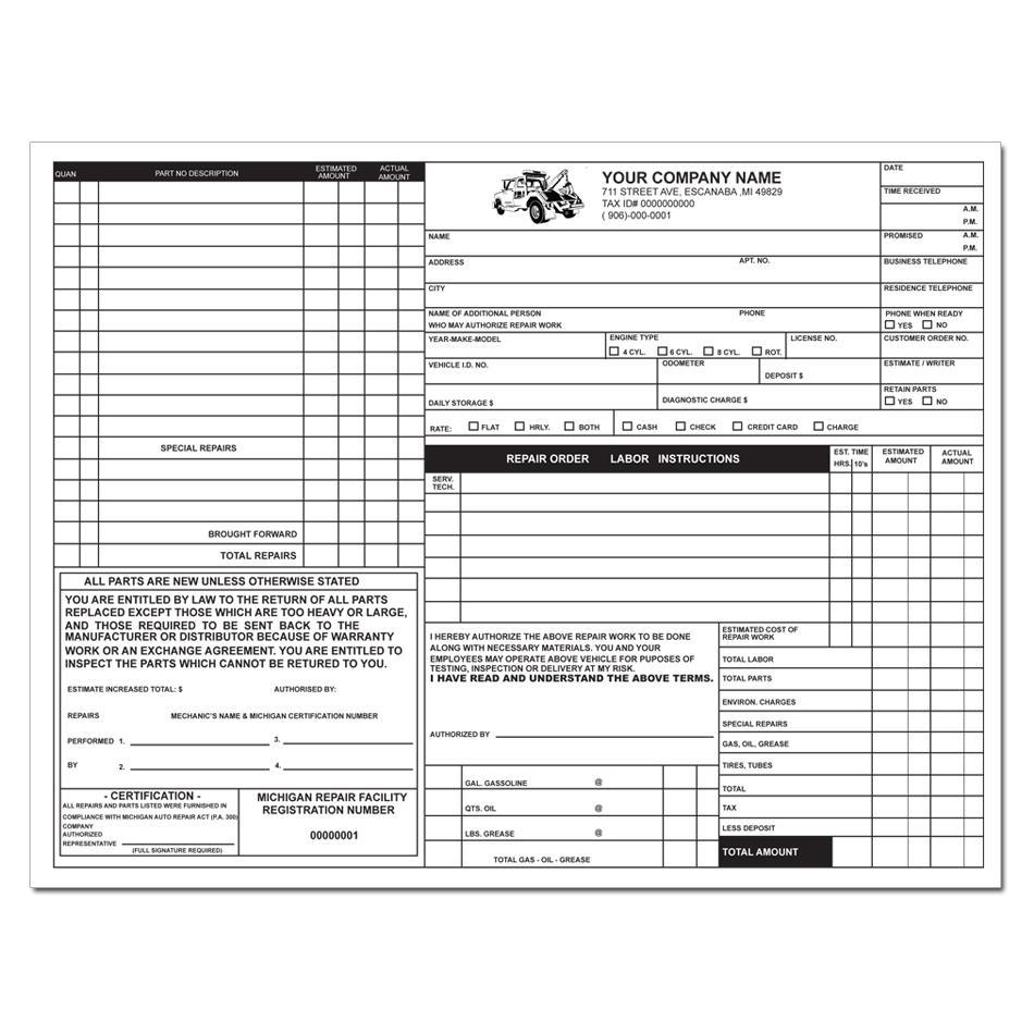 Auto Repair Invoice Form Pdf