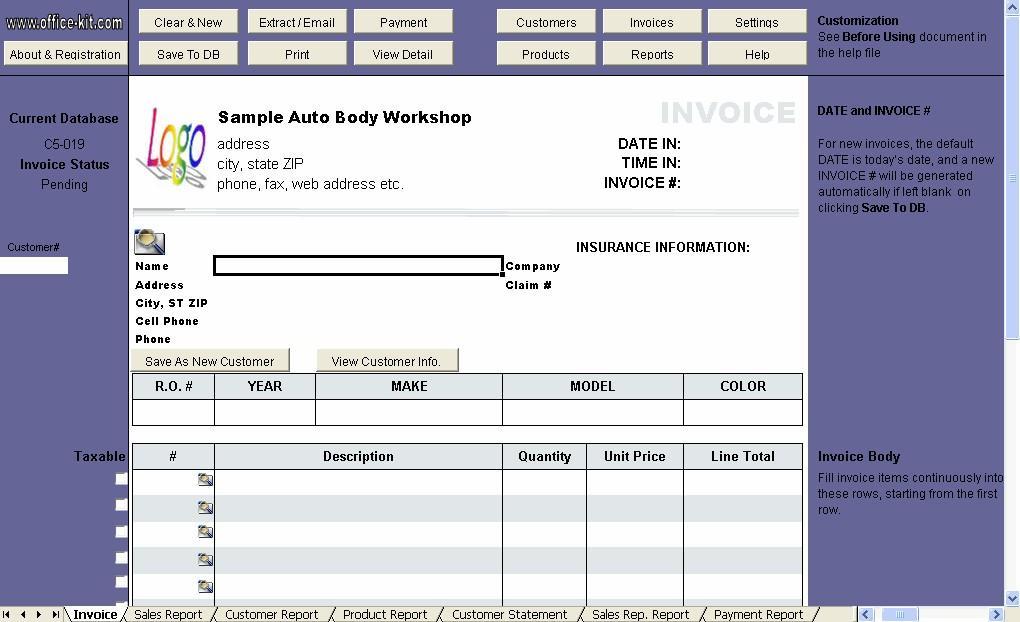Auto Repair Invoice Template Excel