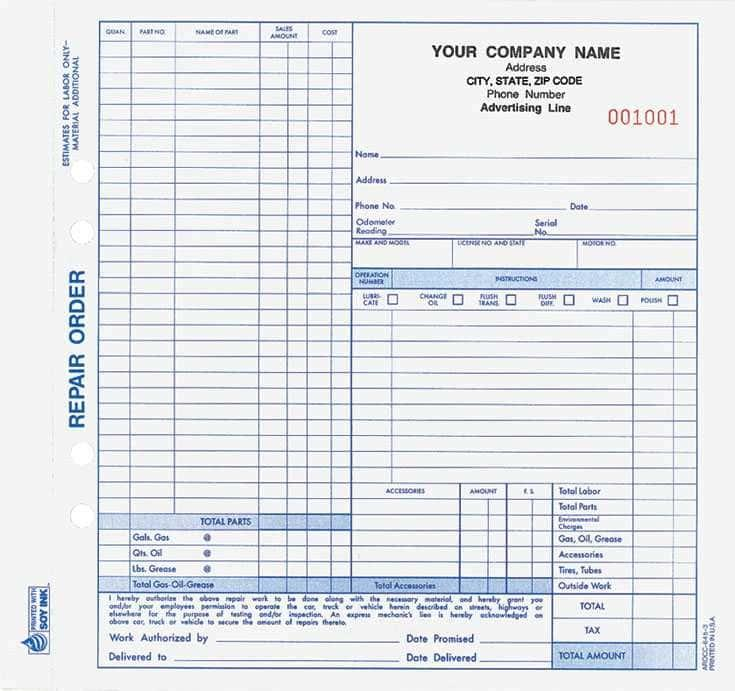 Auto Repair Work Order Forms