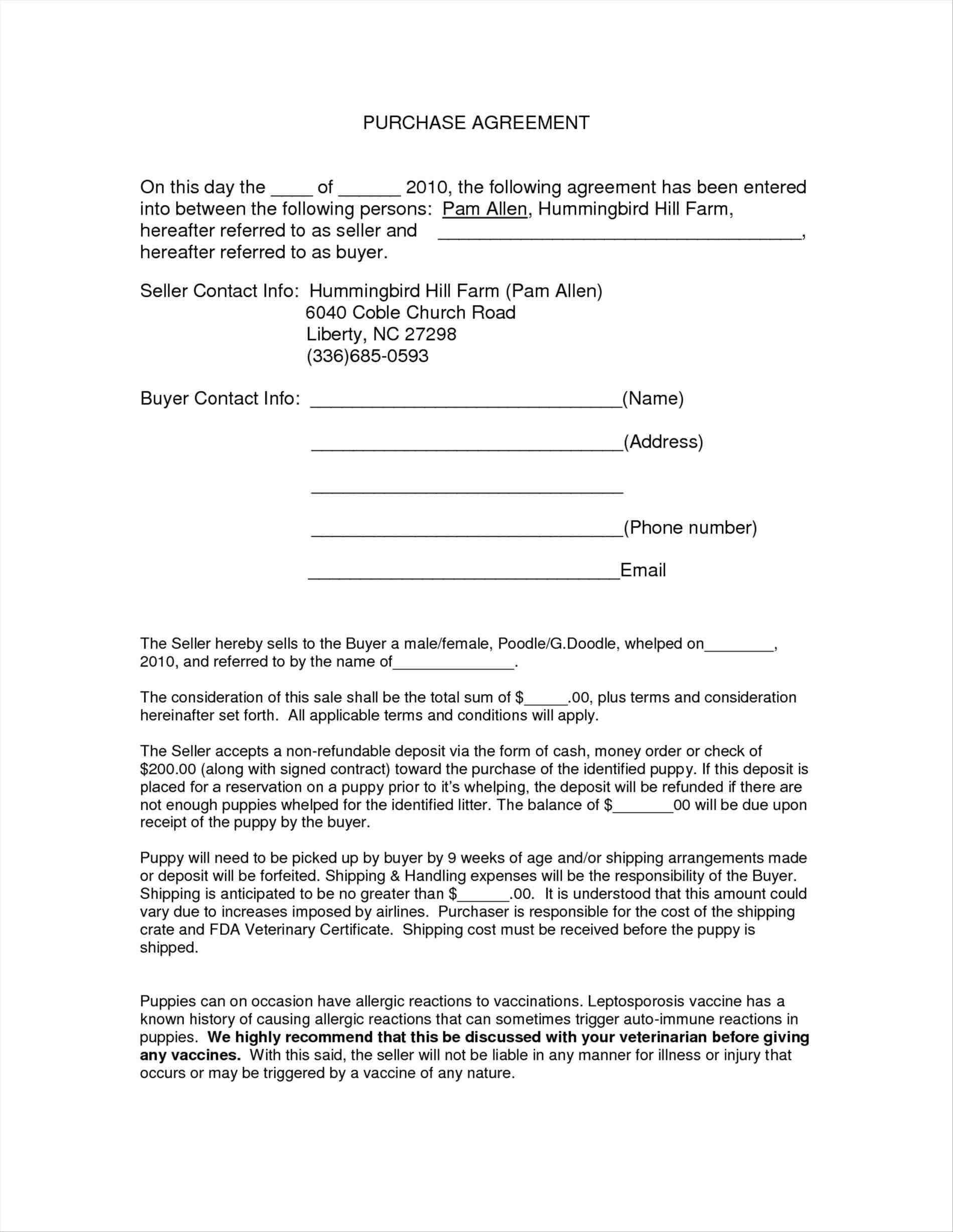 Auto Sales Purchase Agreement Template