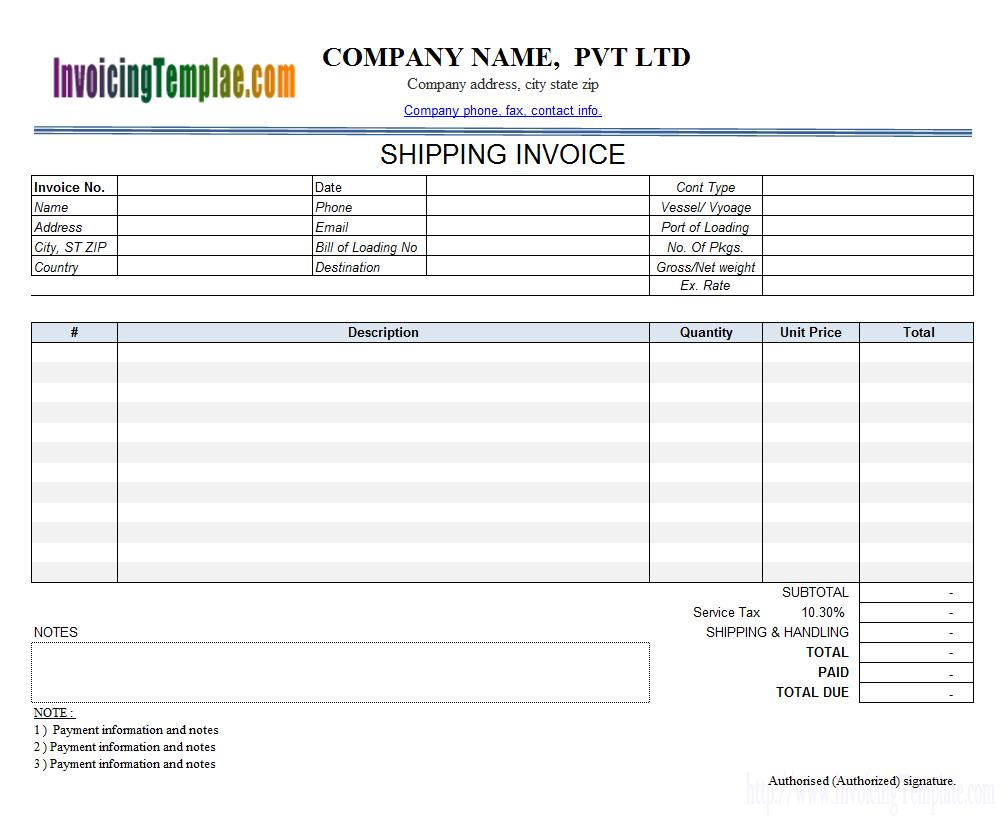 Auto Transport Invoice Template Download