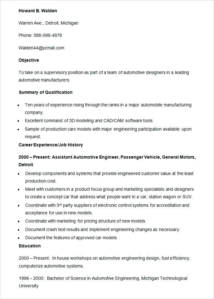 Automotive Engineer Resume Template