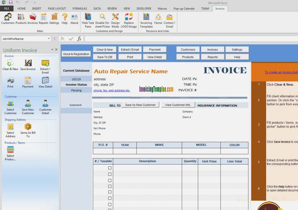 Automotive Invoice Templates