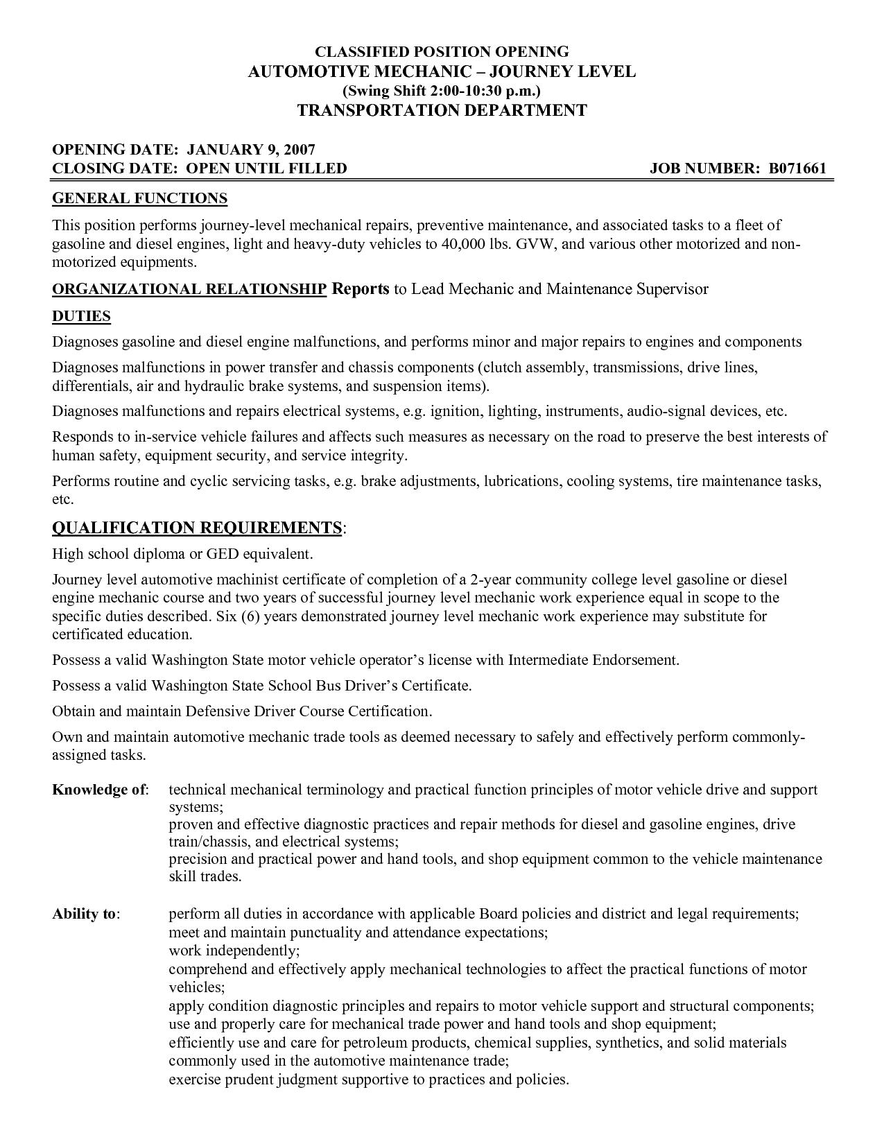 Automotive Mechanic Resume Template