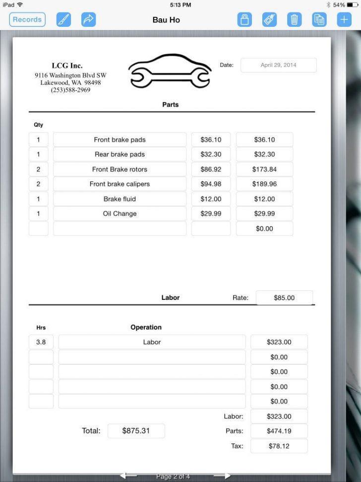 Automotive Repair Receipt Template