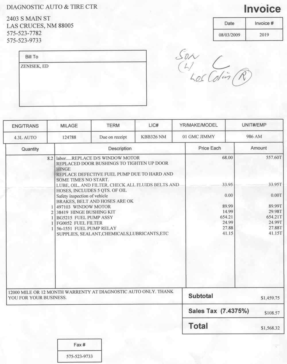 Automotive Shop Invoice Template Free