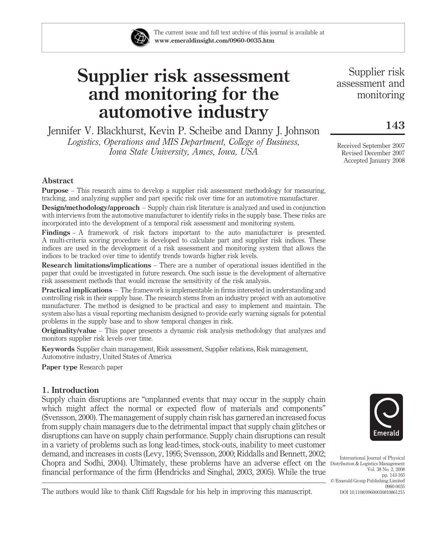 Automotive Supplier Risk Assessment Template
