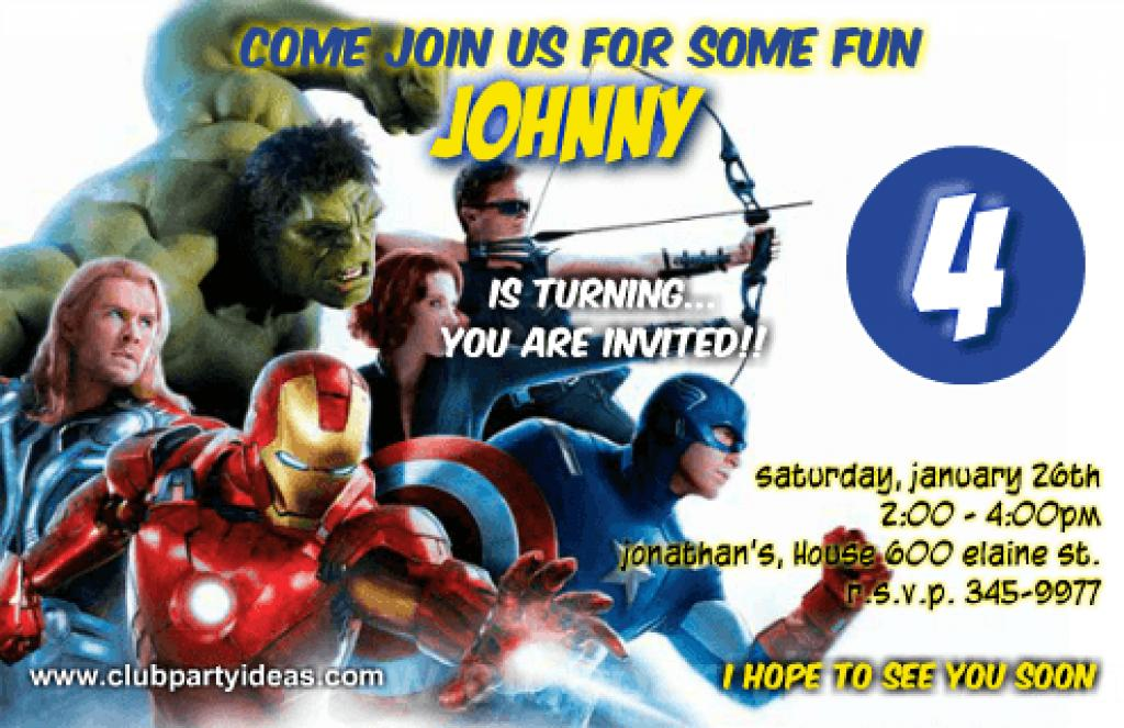 Avengers Party Invitations Template
