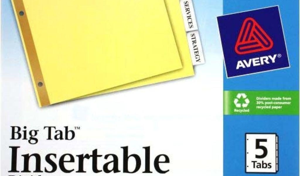 Avery 5 Big Tab Divider Template