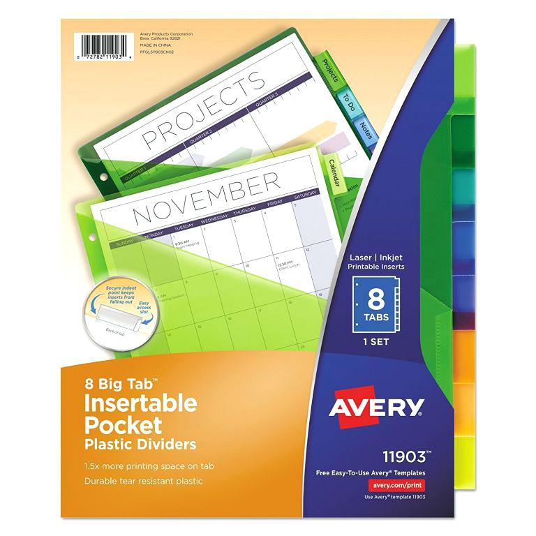 Avery 8 Tab Divider Template 11437