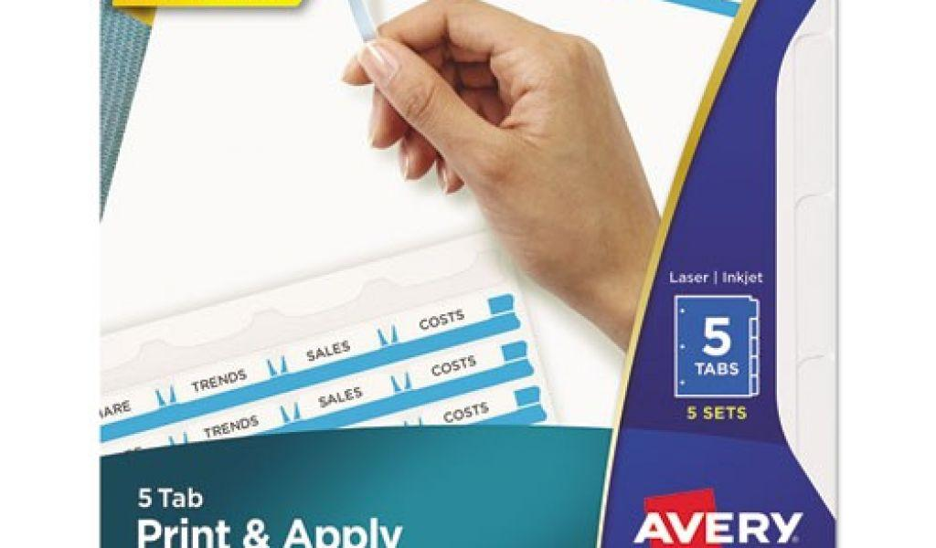 Avery Clear Label Dividers 5 Tab Template 11446