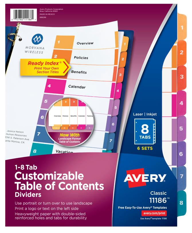 Avery Divider Template 11186
