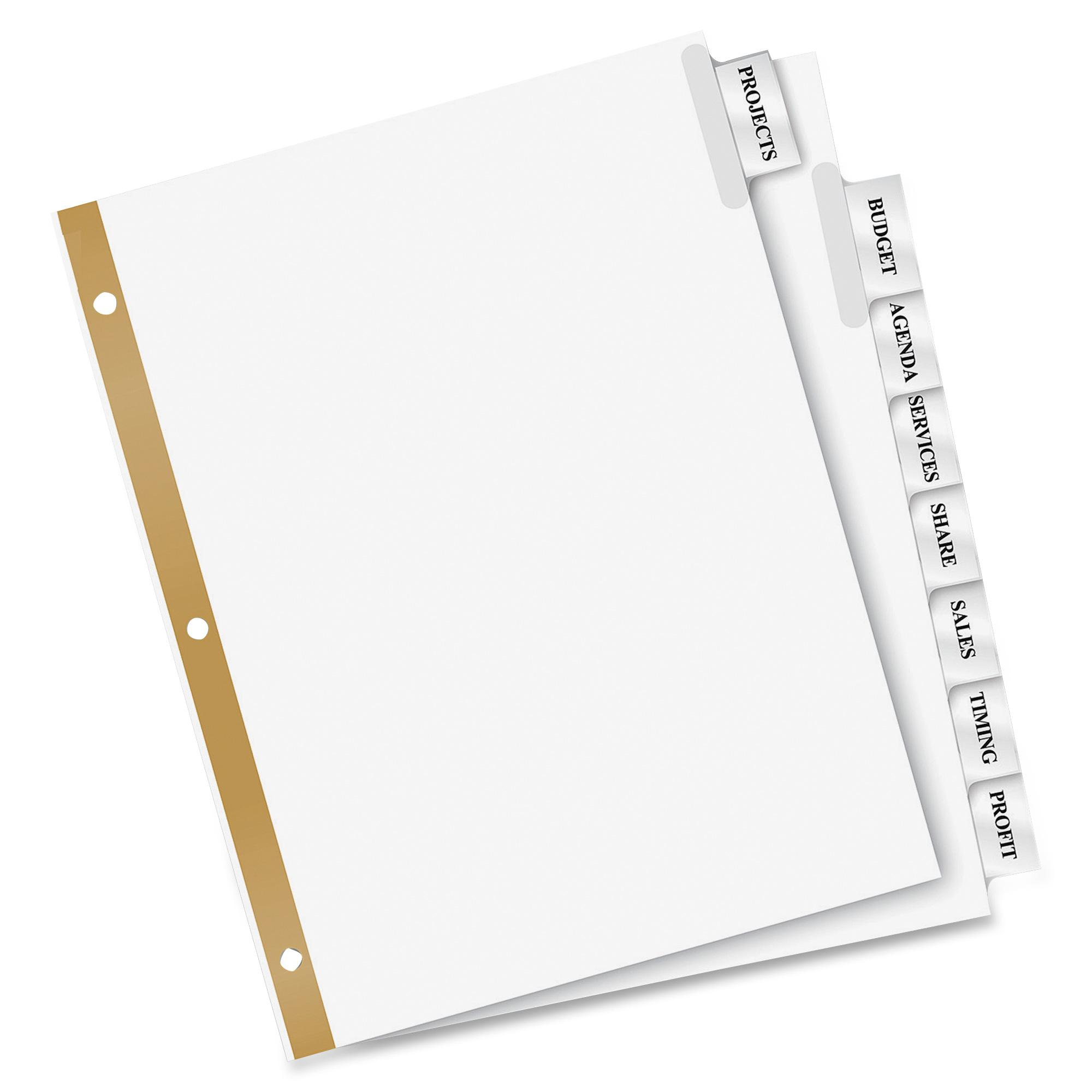 Avery Divider Template 11554