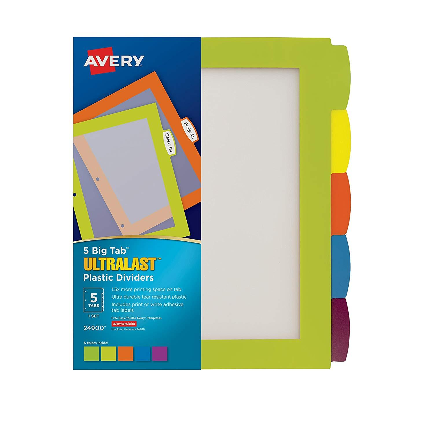 Avery Divider Templates 5 Tabs