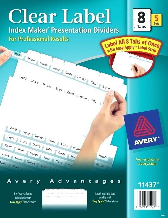 Avery Easy Apply Label Strips 5 Tab Template