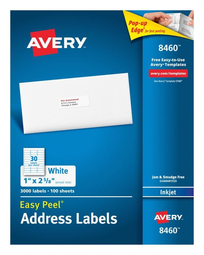 Avery Easy Peel Labels 8460 Template