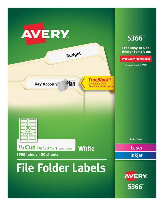 Avery File Folder Label Template 05201