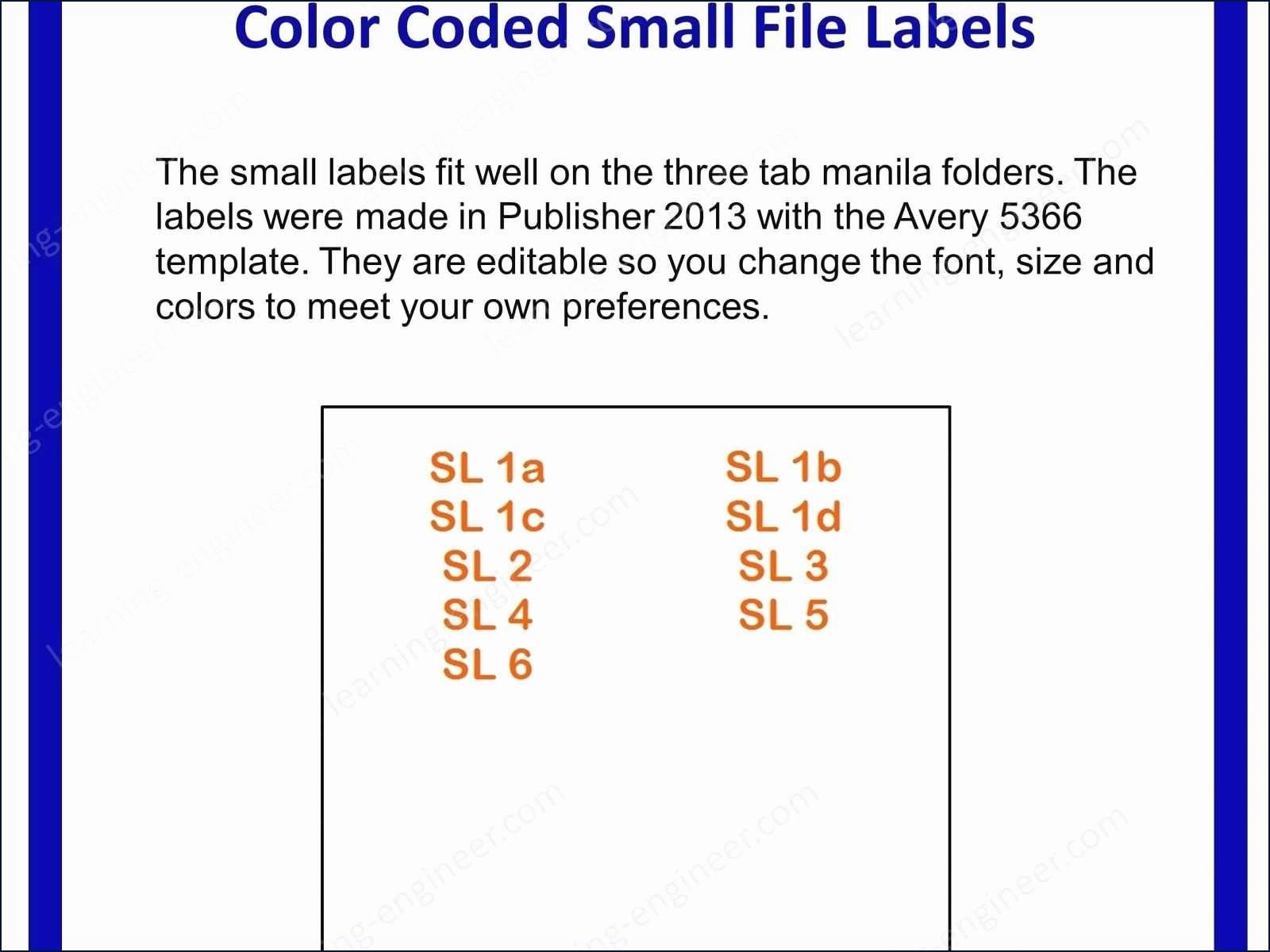 Avery File Folder Label Templates 5366