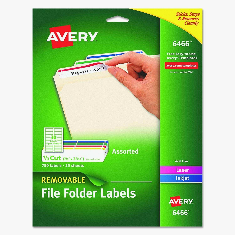 Avery File Folder Template 5766