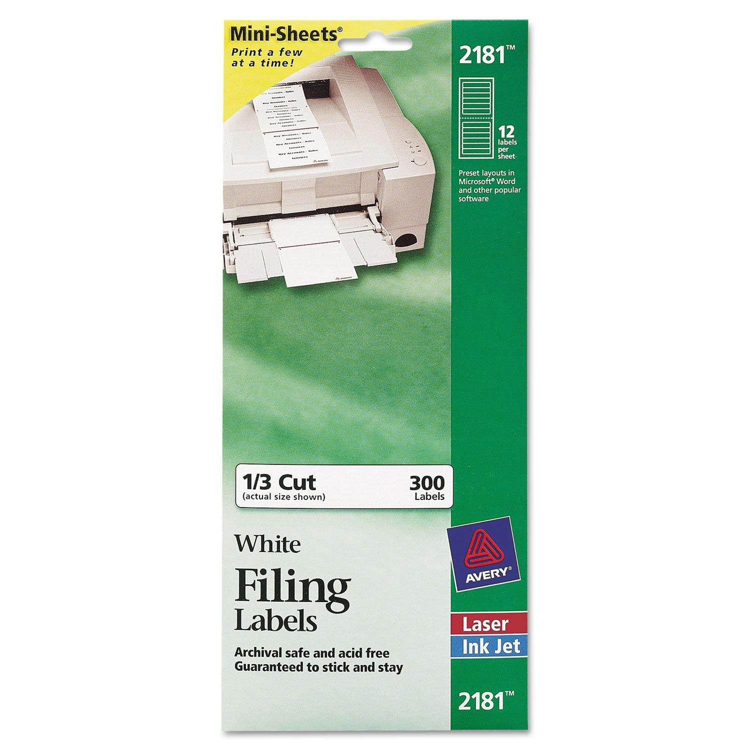 Avery Filing Labels Template 2181
