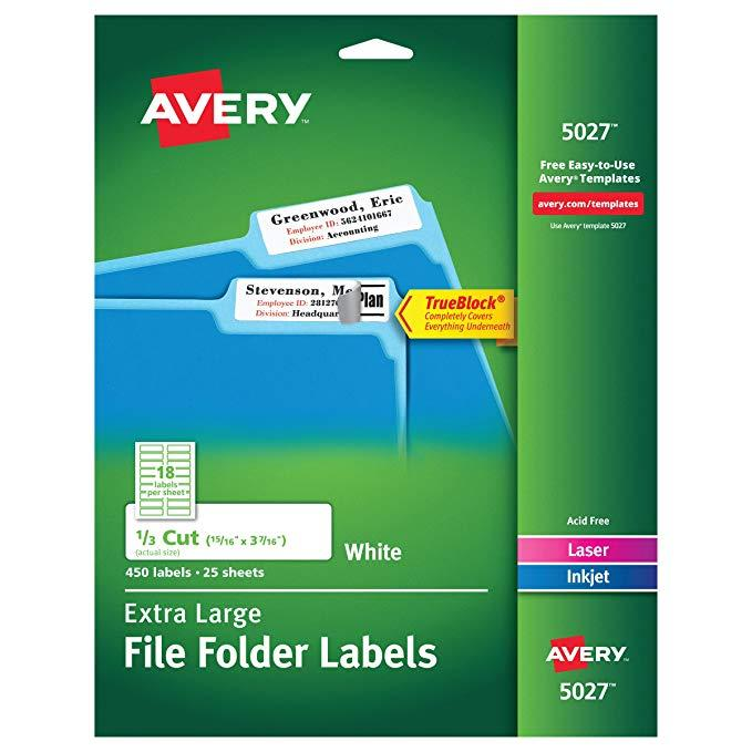 Avery Filing Labels Template 8478
