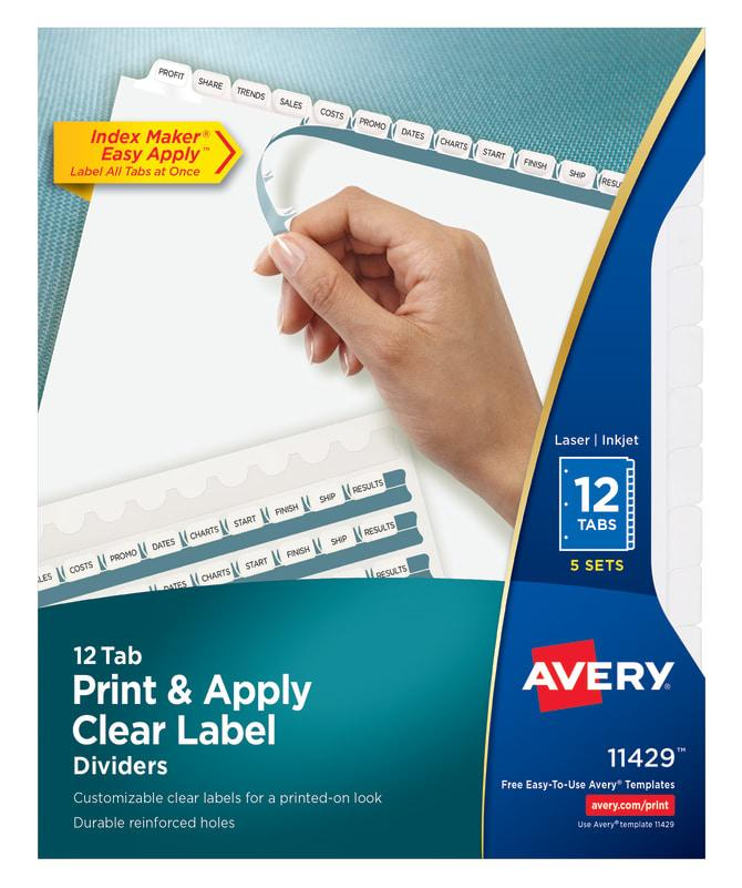 Avery Index Maker 12 Tab Template