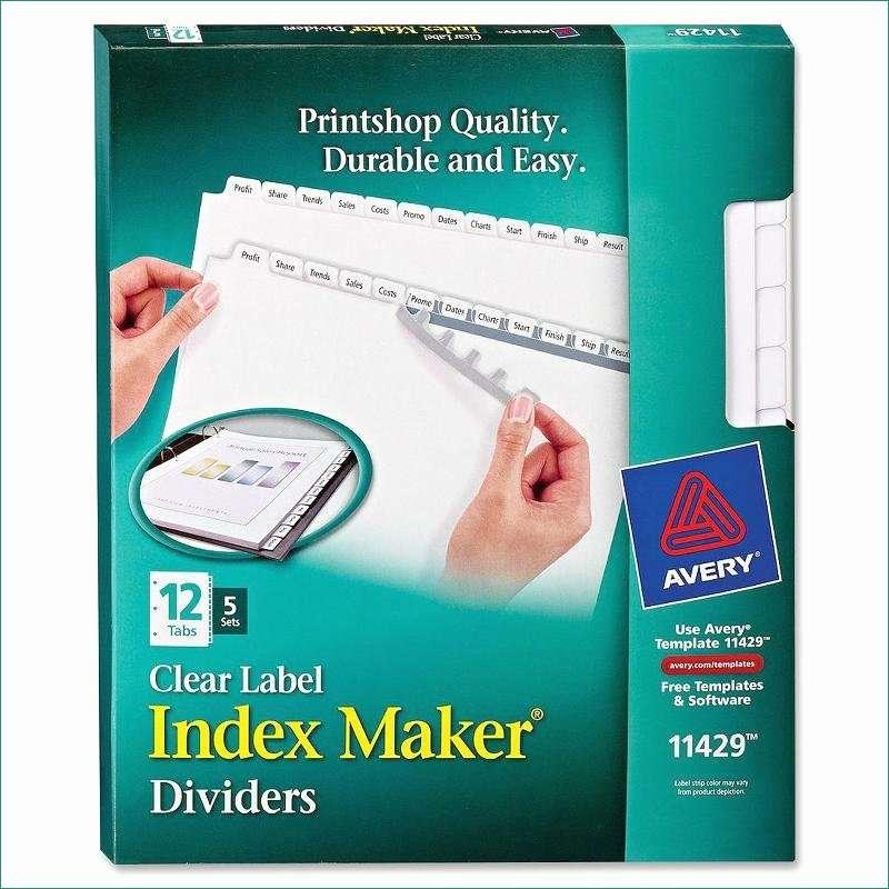 Avery Index Maker 5 Tab Template