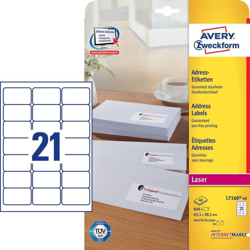 Avery Labels Printing Template L7160