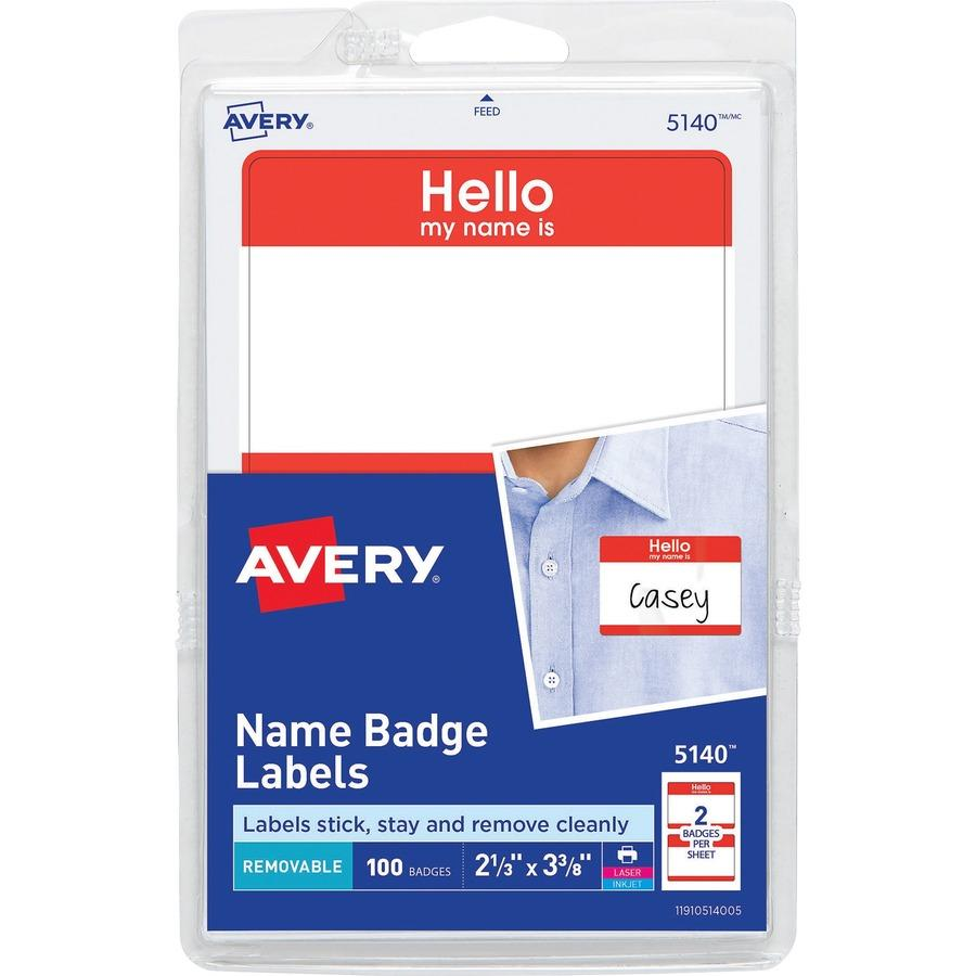 Avery Name Badges Template 5140