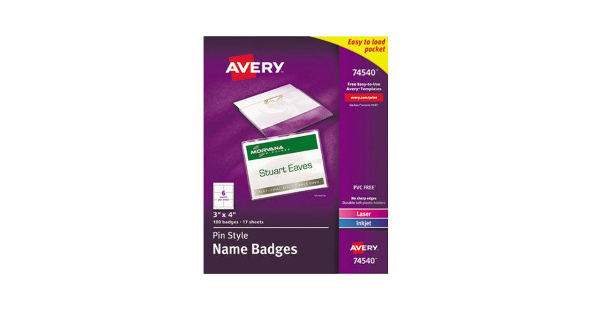 Avery Name Badges Template 74540