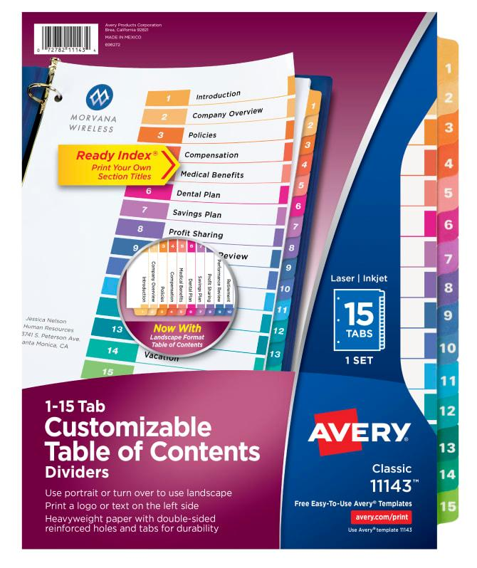 Avery Ready Index 15 Tab Template 11143