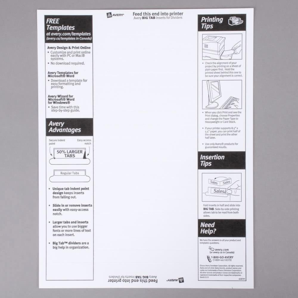Avery Ready Index 8 Tab Dividers Template