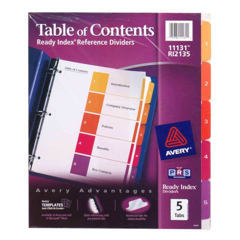 Avery Ready Index Dividers 5 Tab Template