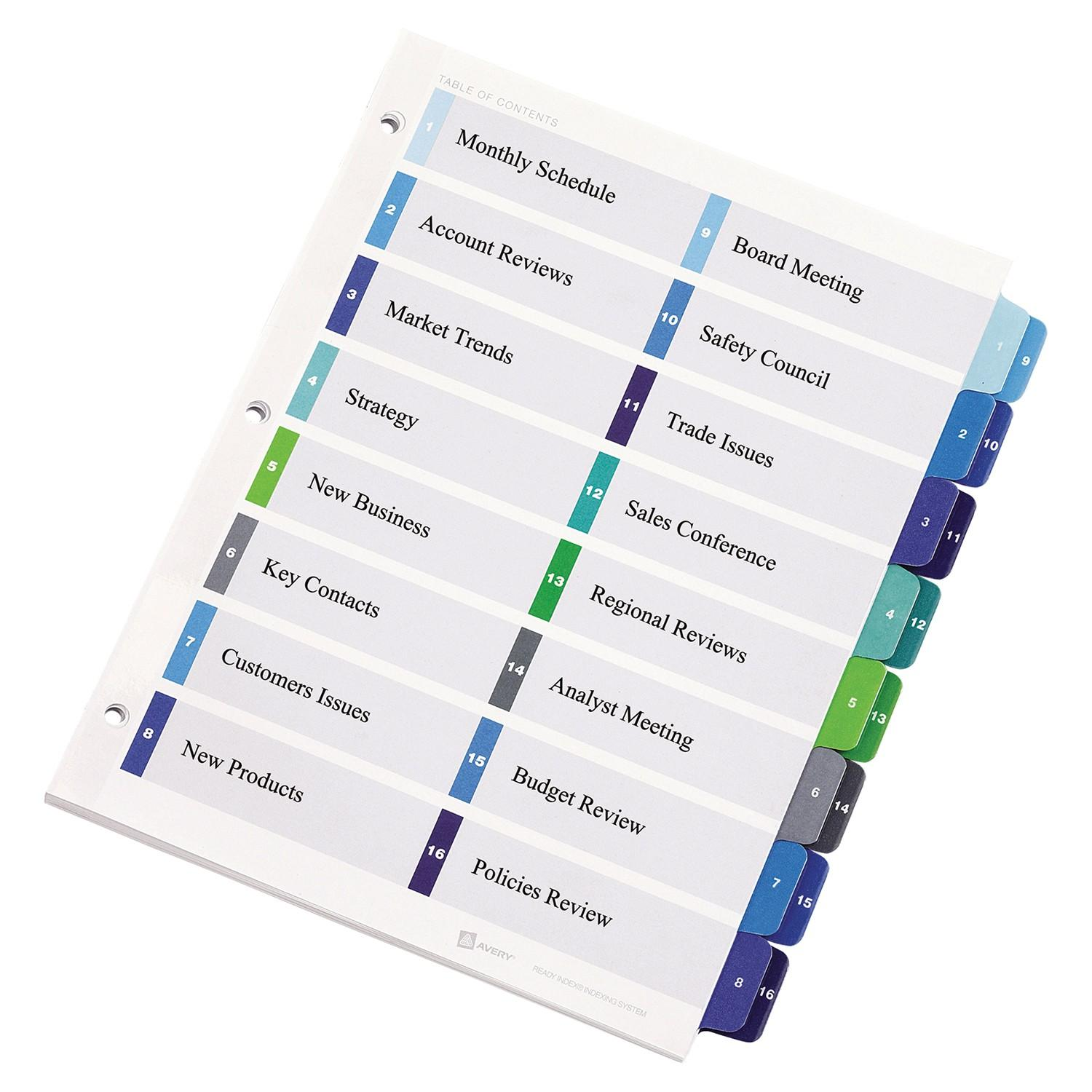 Avery Ready Index Double Column Dividers Template